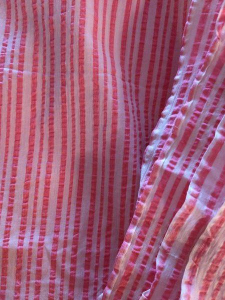 6 Yards 1930s Seersucker Fabric Pink White Stripe Sewing Crafts