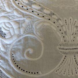 Antique Wedding Italian Needlework Bed Sheet Embroidery Drawn Thread Motto