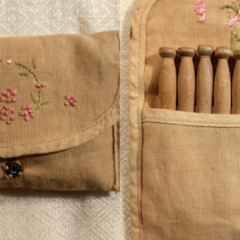 1920s Toy Wood Clothespins Hand Embroidery Vintage Fabric Case Pretend Play