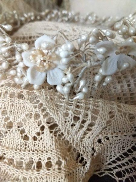 Wedding Bride Wax Flowers Headpiece 1920s Garland Orange Blossoms