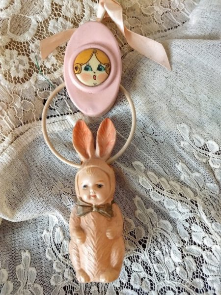 Celluloid Baby Dress Bunny Rattle Vintage 1920s Campbell Kids Face