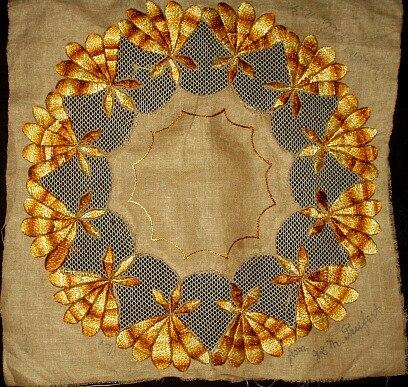 Victorian Silk Embroidery Friendship Presentation Linen Square Niagara Falls NY