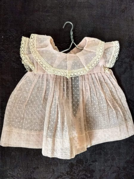 Vintage 1950's Doll Dress Flocked Dotted Swiss Organdy Lace Trim Factory Made