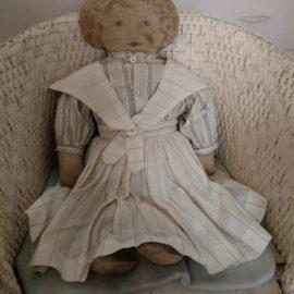 Old Cloth Art Fabric Mills Doll Feb 1900 Sweetly Dressed