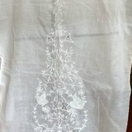Edwardian Tea Dress White Embroidery Bodice Batiste Fabric Panel Dressmaking