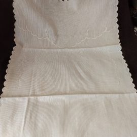 1920 Vintage Baby Crib Bed Spread Buggy Cover White Pique Embroidery