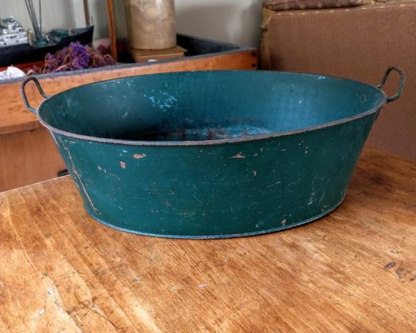 1920 Painted Green Depression Tin Metal Laundry Wash Tub Toy Primitive