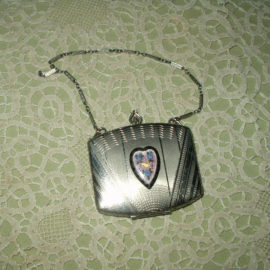 1920s Silver Metal Guilloche Heart Compact Dance Purse Chain Handle