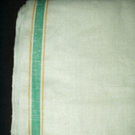 Vintage 1930s Depression 1950s Green Yellow Stripe Toweling Fabric