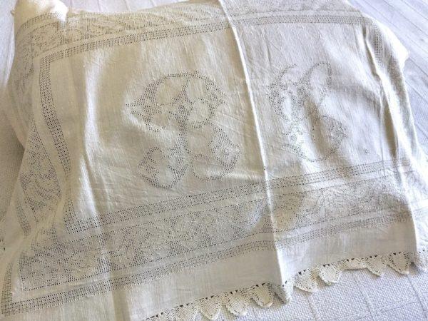 White Linen Homespun Sham Victorian Drawn Thread Monogram Crochet Trim