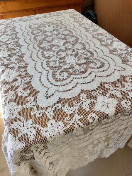 Vintage 1920 Darn Net Knotted Lacis Tablecloth Oblong Art Deco