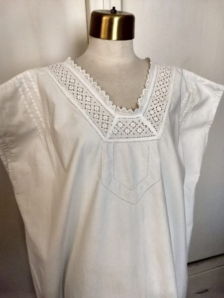 Antique White Cotton Night Gown Vintage Late Teens 1920's Eyelet Neck line