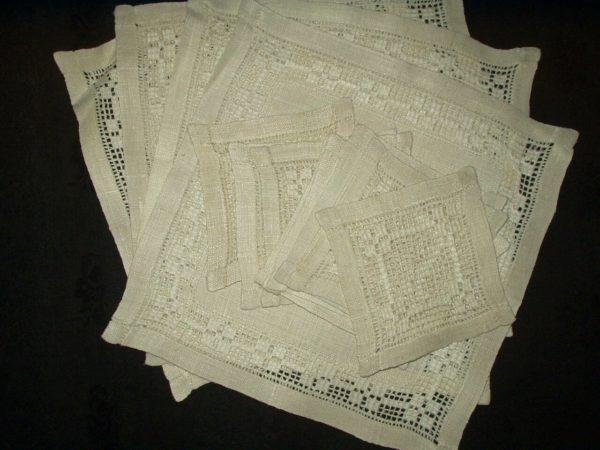 Vintage Set 4 Vintage Handanger Embroidery Table Mats 10 Coaster Doilies
