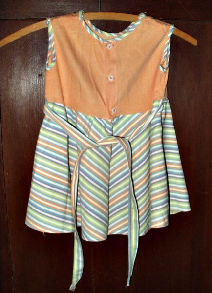 Vintage Dress Girl Child Home Sewn 1950 Summer Stripe Fabric
