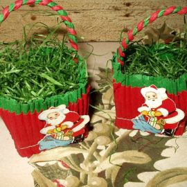 2 Vintage 1950s Christmas Crepe Paper Santa Nut Cups Old Store Stock