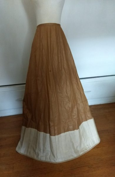 Antique Victorian Under Skirt Petticoat Brown Polished Cotton Fabric For Bustle