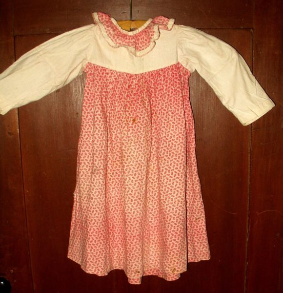 Victorian 1880 1890 Baby Doll Dress Double Pink Calico Dimity Bodice