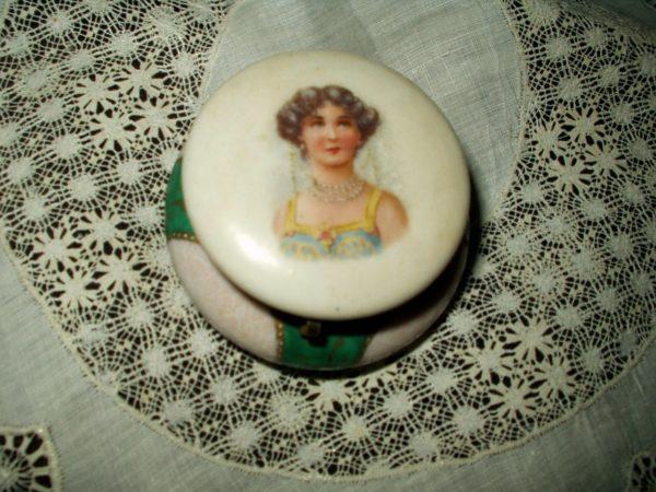Edwardian 1920s Vanity China Powder Jar Trinket Box Lady On Lid