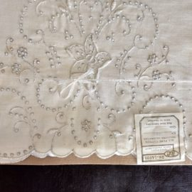 Vintage 1930s Madeira Pillowcases Unused Original Package Silver Tone Embroidery