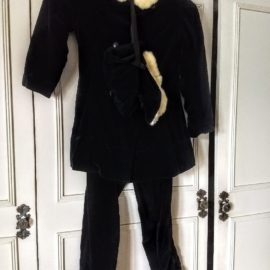 1940 Vintage Girl Snow Suit Black Velvet Jacket Leggings Bonnet Rabbit Trim