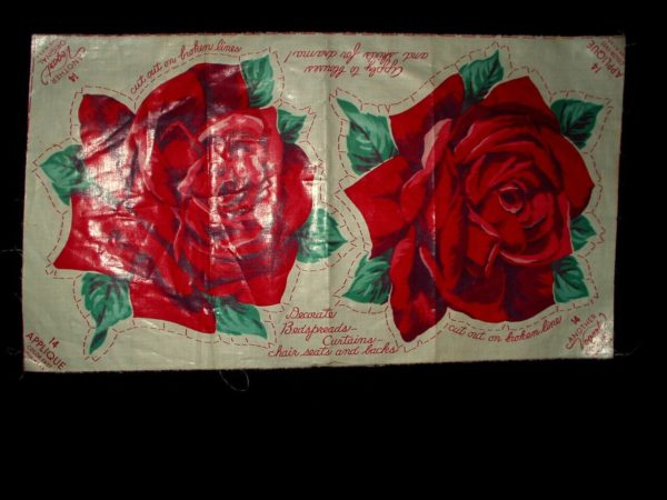 1940s Vintage Uncut Vogart Roses Household Clothing Sewing Applique
