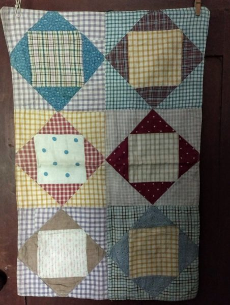 Vintage 1920 Doll Bed Quilt Check Fabrics Machine Stitched Country Charm