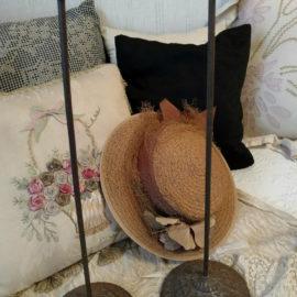 2 Embossed Cast Metal Hat Stand Holders Vintage Edwardian 1920s Millinery
