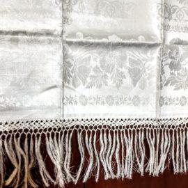 Antique Victorian Damask Towel Fringe Poppy Flower White Linen Unused