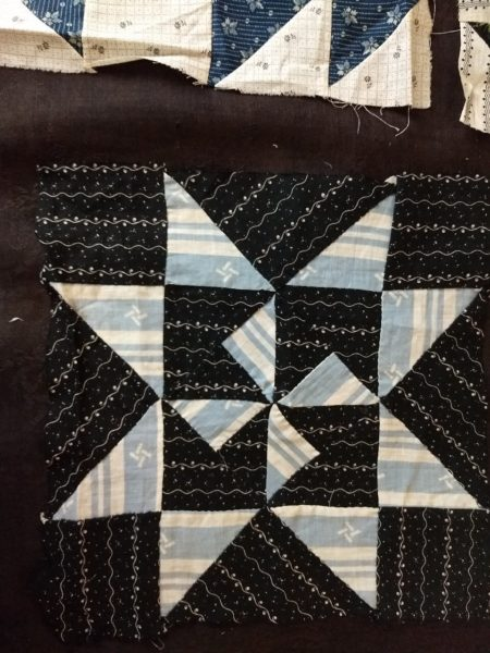 4 Assorted Old 1900 Quilt Blocks Squares Blue Black Calico Shirting Fabrics