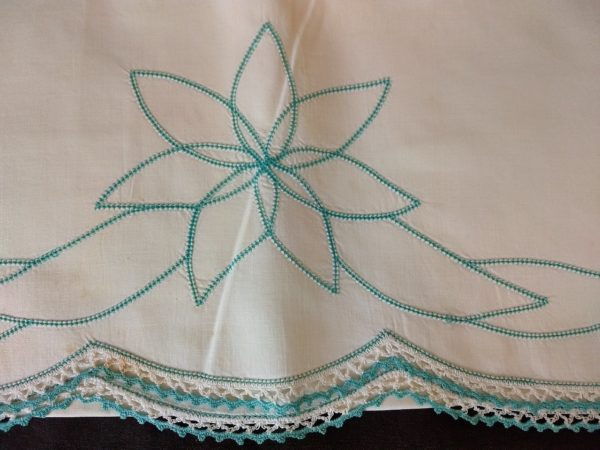 Vintage Pillowcase 1950 Aqua Hemstitching Crochet Lace Trim Unused