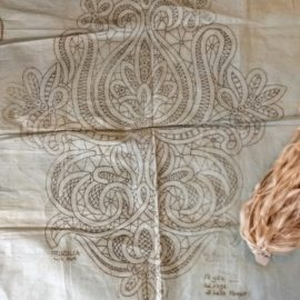 Antique Battenburg Tape Lace Printed Cloth Pattern Stencil Doily To Complete