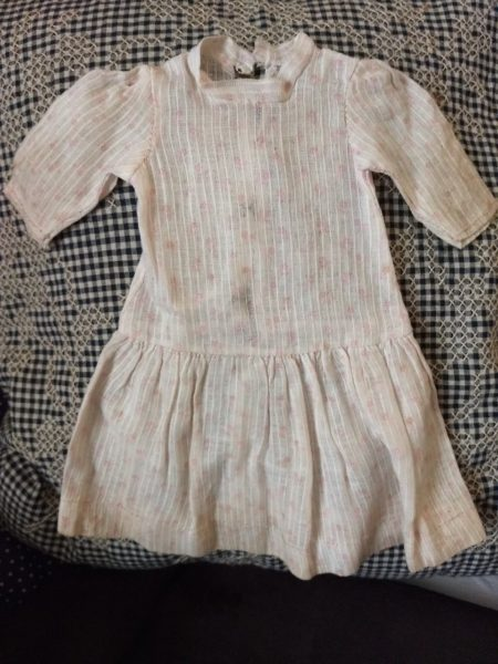 Antique 1900 Doll Dress White Dimity Red Print Bisque Compo