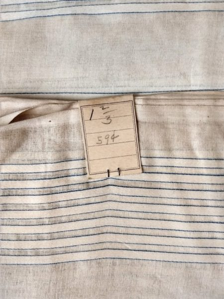 Early 1900 Remnant Fabric Sheer Stripe Tan Cream Yardage