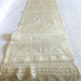 Antique Victorian Pillow Bolster Sham Linen Fabric Crochet Lace Edging Trim