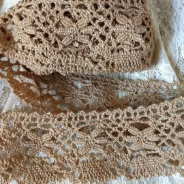 Handmade Antique Bobbin Lace Trim Ecru Yardage 1900 Sewing Crafts