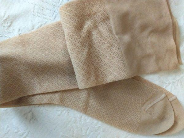 Vintage 1960s Nylon Stockings Hosiery Tan Cream Textured Pattern Unworn