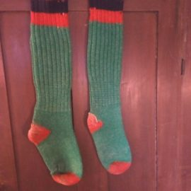 Vintage Wool Hunting Boot Socks Outdoor Red Green Hunter Gear 1940s