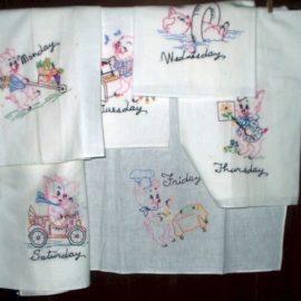 Vintage 1940s 1950s Day Of Week Embroidery Pig Dish Towels Muslin Feedsack