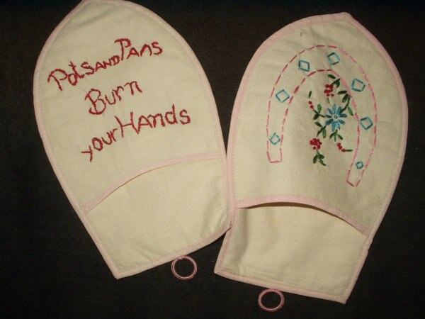Vintage 1950 Home Sewn Cotton Embroidery Kitchen Hot Pan Pad Mitts