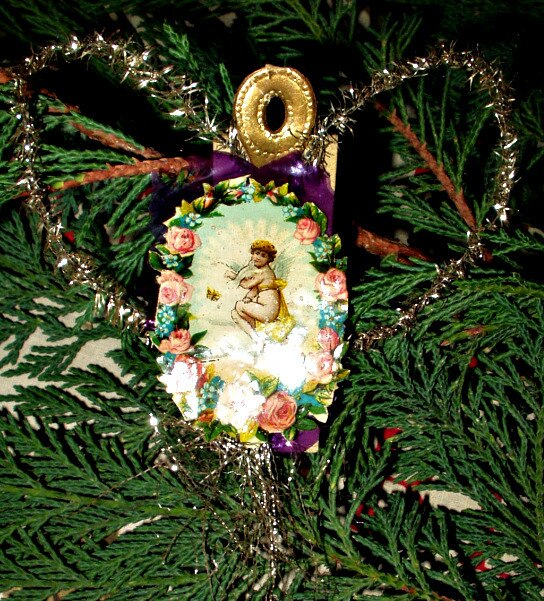 Antique 1900 Angel Roses Paper Scrap And Tinsel Christmas Ornament