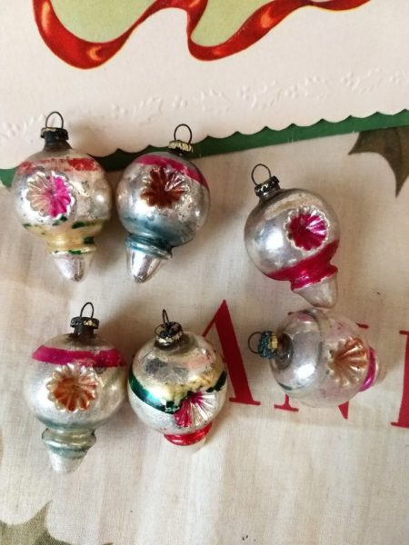 6 Vintage Ornaments Mercury Indent Glass Feather Christmas Tree Decoration