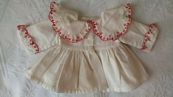Vintage 1950 Krue Doll Dress Coat Pique Fabric Eyelet Trim