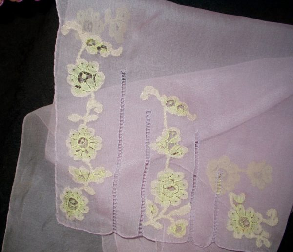 Vintage 1930 Lavender Chiffon Handkerchief Scarf Lace Applique Drawn Thread