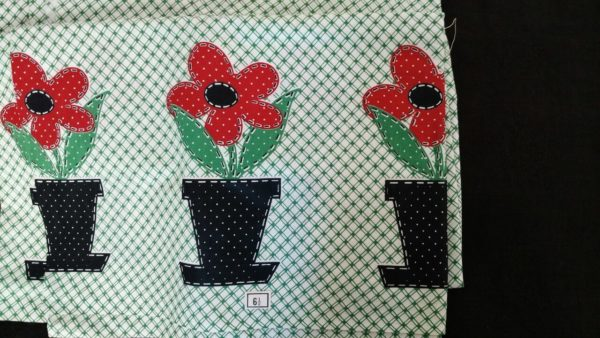 Vintage Cotton Fabric Yardage Green White Flower Pots Depression 1930s to 1950s