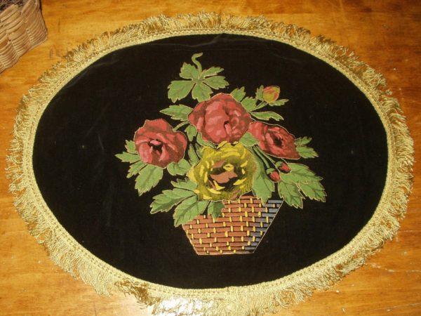 1920s Hand Painted On Black Velvet Doily Theorem Style Vintage Basket Rose Flowers Gold Rayon Fringe Trim
