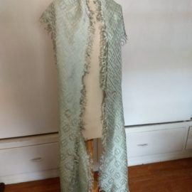 Edwardian Antique Silk Sash Collar Wrap Shawl Fringe Dress Embellishment Accessory