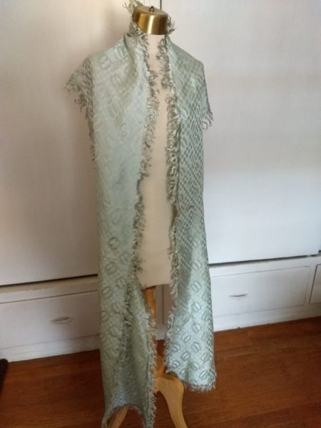 Edwardian Antique Silk Sash Collar Wrap Shawl Fringe Dress Embellishment Accessory