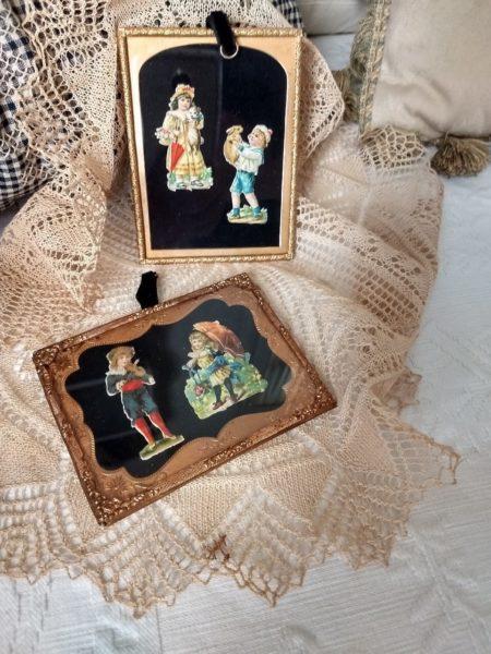 Framed Victorian Scraps Children Tintype Brass Insert Frames Antique Pair Hand Assembled