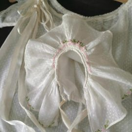 1930s Vintage Dotted Swiss Child Dress Matching Bonnet Embroidery Ribbon Accent