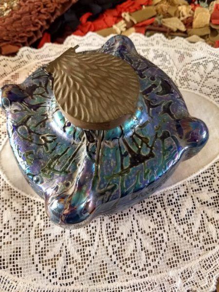 Loetz Cobalt Art Glass Inkwell With Insert Vintage Victorian 1920's